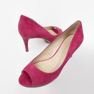 Nine West Gelabelle Pink Suede Peep Toe Pump Heels